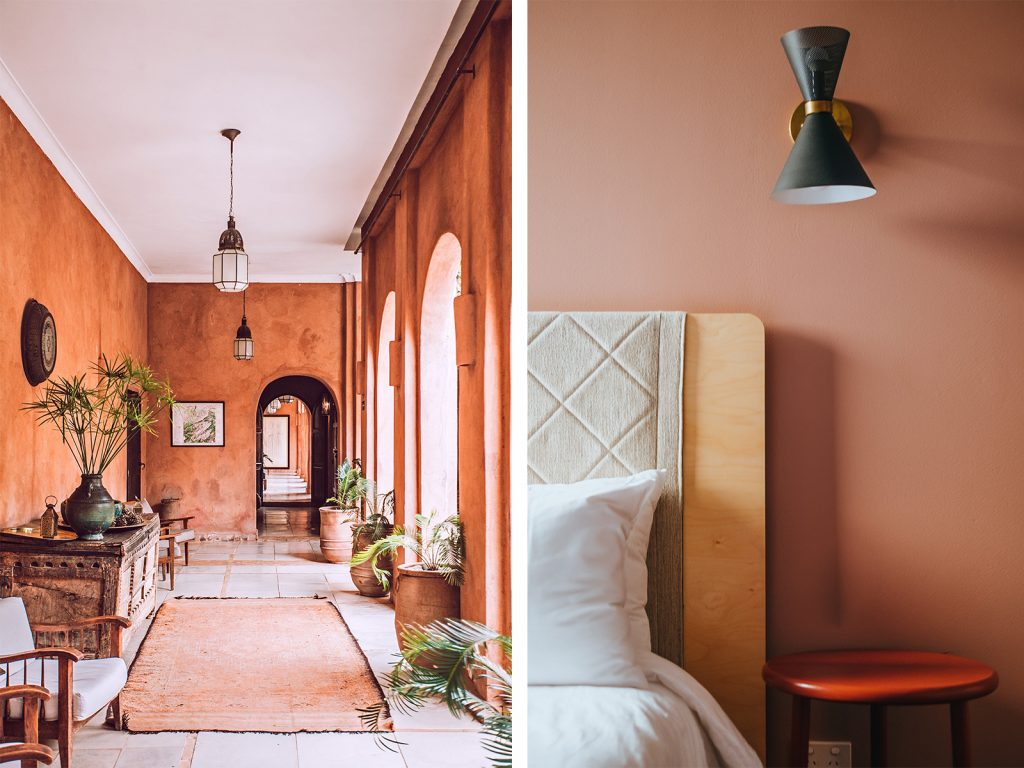 Left: An online interior design example of a boho interior with terracotta walls and rug and a white ceiling. Right: A bedroom with terracotta coloured wall and dark orange bedside with a modern, black wall lamp.