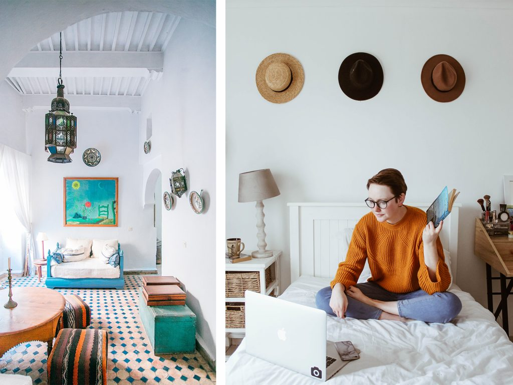 Left: A colourful boho interior with striped, coloured pouffes, blue sofa with white cushions and a green trunk and ditto painting against the wall. Right: A girl sits on the bed with her laptop presumably making use of an online interior design serivce in a light boho decor with hats on the wall.